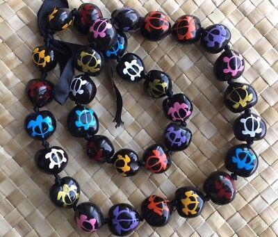 Hawaiian Kukui Nut Lei Multicolored Honu Turtle Necklace Graduation Wedding Luau