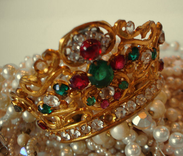 French Multi Colored Stones Bejeweled Antique Crown