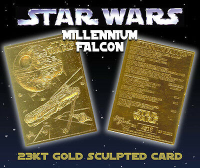 STAR WARS Millennium Falcon Genuine 23K GOLD CARD * $8.95 Officially Licensed