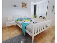DOUBLE white wooden BED FRAME BRAND NEW UNOPENED BOX