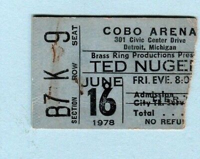 1978 Ted Nugent Black Oak Arkansas Concert Ticket Stub Detroit Cat Scratch Fever