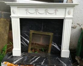 White wooden fire surround 132cm Wide X 110cm Tall with Decoration