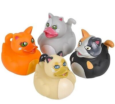 - 4 Count Cat Style Rubber Ducks New 2 Inches Tall Toy Prank Gag
