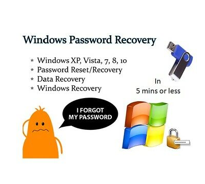 Windows Password Recovery Reset USB Boot for Windows 10, 8.1, 8, 7, Vista, Server