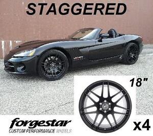"4 NEW* FORGESTAR 18"" STAGGERED RIMS - 120596644 - DODGE VIPER BLACK ALUMINUM RIMS 6 BOLT"