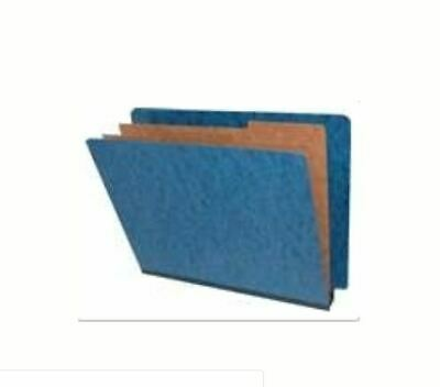 End Tab Pressboard Folders w/ 2 Kraft dividers - Box of 10 - Dark Blue 1 Kraft Divider