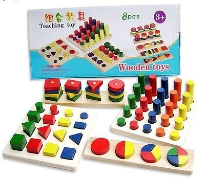 Montessori educational wooden toy early learning teaching colors shapes 8pcs/set