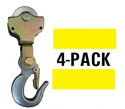 4-pack 2ton Wire Rope Pulley Block W Swivel Eye Hoist Hook Snatch Block