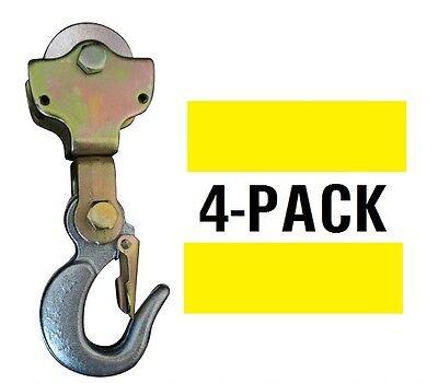4-pack 2ton Wire Rope Pulley Block W Swivel Eye Hoist Hook Snatch Block