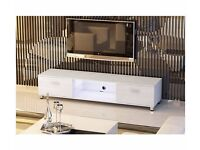 White Gloss MDF TV Stand with LED light for TV sizes 32 to 70 inches Brand New in Box