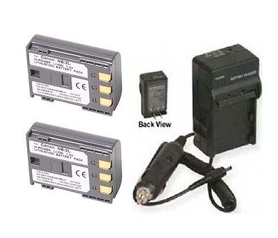 Two 2 Battery + Charger For Canon Dc311 Dc320 Dc330 Dc410 Dc411 Dc420 Md120