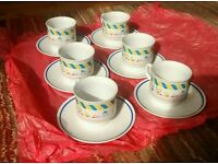 6 expresso coffee cups and saucers