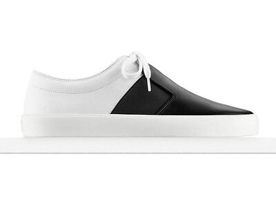 NIB CHANEL $995 ~leather sneakers~sport runner tennis shoes~black & white~37/7
