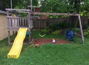 Very sturdy swing set and slide
