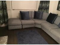 Westbridge 'Irving' large corner sofa with footstool. Grey/blue in colour, £1300 when new
