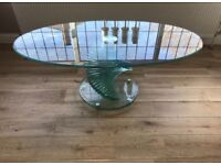 Oval Glass Spiral Coffee Table