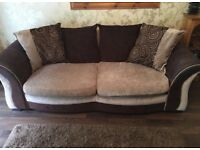 Brown/cream 3 seater sofa.