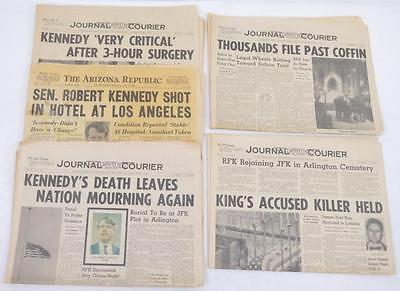 Five different RFK Bobby Kennedy assassination newspapers Lot 316