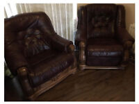 2 ARMCHAIRS LEATHER BROWN