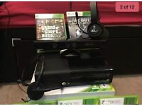 Xbox 360 Slim 250GB Excellent Condition With Kinect, 2 headsets and games bundle.