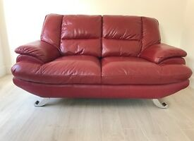 Reids red leather 3 seater and 2 seater sofas