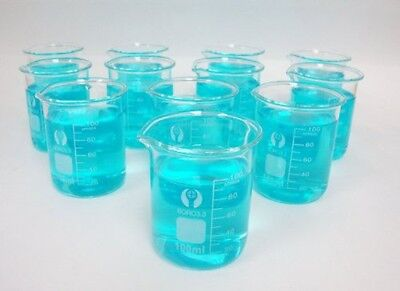 Glass Beakers 100ml Pack Of 12 New Free Shipping