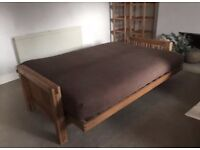 3 seat solid oak frame futon by Futon Company, 'OKE' range with mattress and cover, vgc