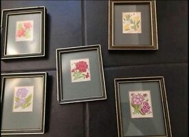 5 Silk pictures in frames, we believe to be Cash's silk pictures. Collect from CV2 Walsgrave.