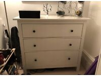 FREE DELIVERY IKEA HEMNES WHITE 3 DRAWER CHEST GREAT CONDITION
