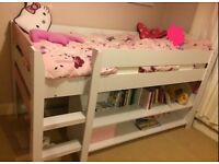girls pink and white bunk bed midsleeper single bed