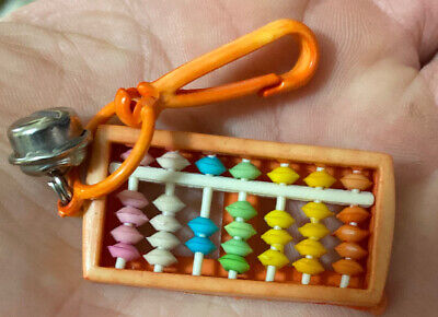 VTG 80's Plastic Orange Beaded Abacus Clip On Charm w/ Bell For Necklace 1980's
