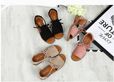 New Womens Ladies Lace Up Strappy Low Flat Canvas Wedge Espadrilles Sandals HOT