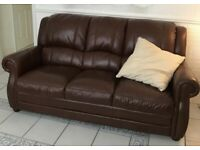Leather 3 piece 3+2 sofas plus chair