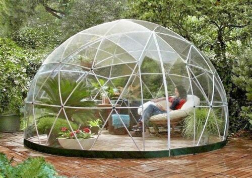 Garden Igloo Geodesic Dome Gazebo Greenhouse Patio Outdoor Room PVC Frame Canopy