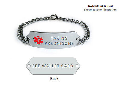 Taking Prednisone Medical Alert Id Bracelet  Free Medical Emergency Card