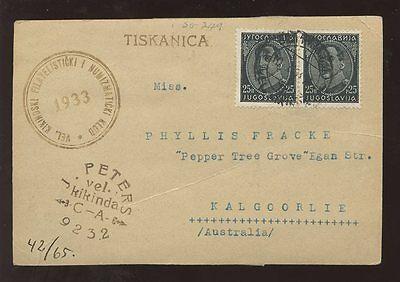 YUGOSLAVIA to AUSTRALIA 1933 KALGOORLIE...KIKINDA STAMP + COIN