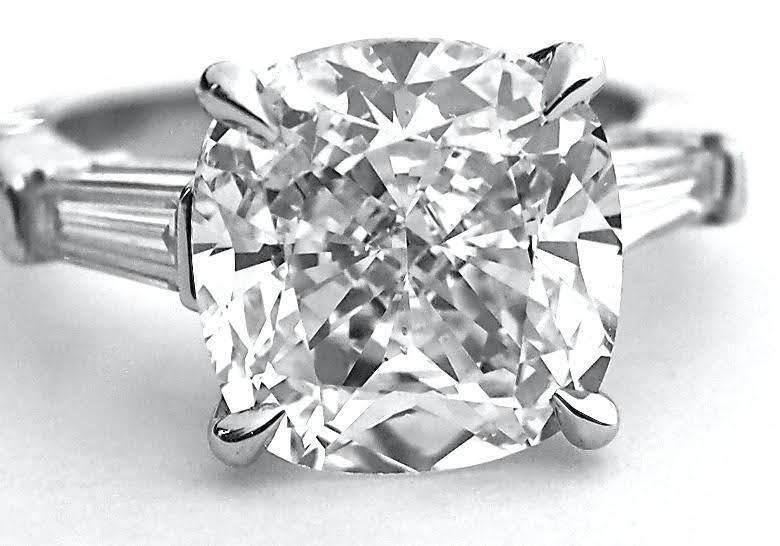 1.80 ct. 3-Stone Cushion w/ Baguette Diamond Engagement Ring E, VS2 14k WG GIA 1