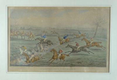 Aylesbury Grand Steeple Chase 1866 - Bentley - Aquatinta - Pferderennen 19. Jhd