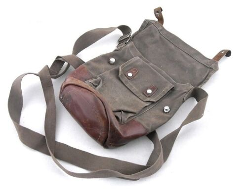 Original Swedish gas mask bag old type - model 1936 (brown leather inserts)