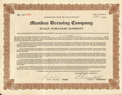 Mundus Brewing Company > Detroit Michigan beer stock certificate