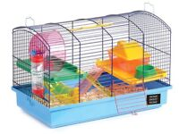 Deluxe hamster gerbil kit cage, two storey home with ladders, tube, dish, bottle, wheel, shavings