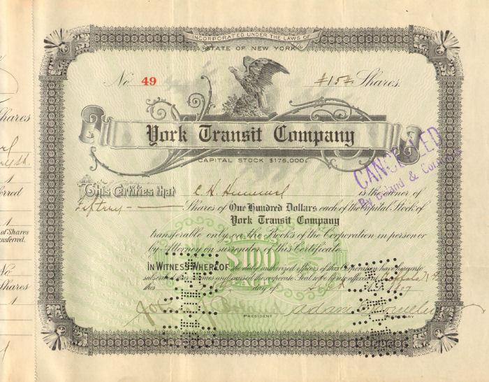 York Transit Company > stock signed by John Boland & Adam E Cornelius autograph
