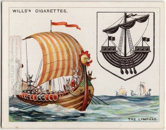 Lymphad Norse Vessel Used On Coat Of Arms Or Family Crest 1920s Ad Trade Card