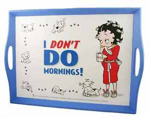 NEW BETTY BOOP I DONT DO MORNINGS LAP TEA TRAY WITH LAP CUSHION LAPTOP