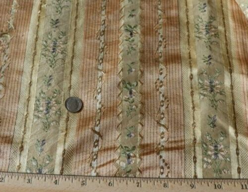 "French Antique 18thC Floral Peach Silk Stripe Fabric~Dolls~L-27"" X W-19"""