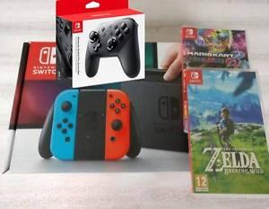 Nintendo Switch + Zelda + Mario Kart + Pro Controller