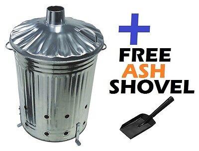 Large 90 Litre Garden Incinerator Fire Bin Pit Paper Waste Burner + FREE SHOVEL