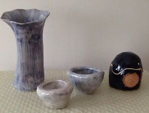 GLASS, CERAMIC VASES, DISHES, CANDLES,ETC $5/photo. $15/10 items