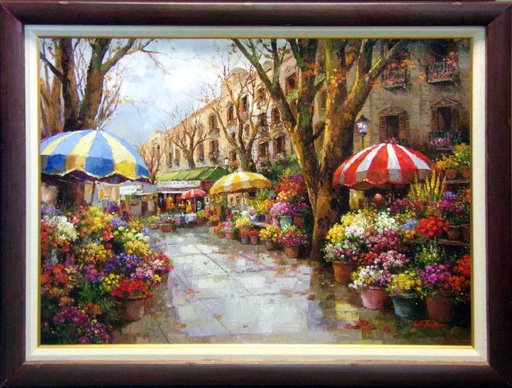 """Paul Guy Gantner """"flower Market"""" Original Oil Painting With Custom Frame Art"""