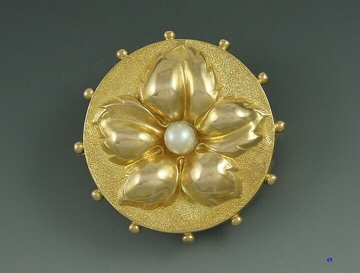 Hand Chased Victorian 14k Gold Pearl Flower Pin Brooch